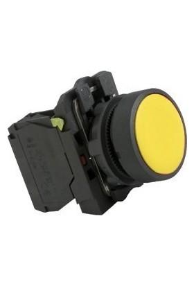 22MM Sarı No Kontaklı Sarı Plastik Yaylı Buton 250V AC/3A (IP44) Lay5 EA61