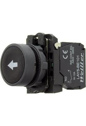 22MM Siyah Tabanlı Beyaz Ok Yaylı Plastik Buton 250V AC/3A (IP44) Lay5 EA3351