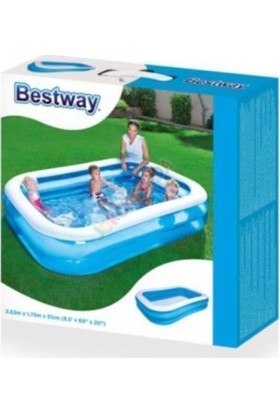 Bestway Mega Boy Dikdörtgen Şişme Çocuk Havuzu + Pompa 262 x 175 x 51 cm - 54006