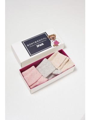 Katia&Bony Antibakteriyel 3' Lü Bebek Çorap - Pembe/bej/gri