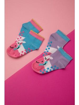 Katia&Bony 2'li Paket Unicorn Desenli Kısa Bebek Çorap - Lila / Yeşil