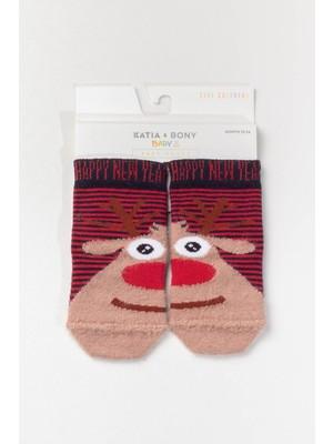 Katia&Bony Lazy Deer Yılbaşı Soket Çorap - Kırmızı