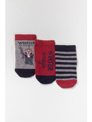 Katia&Bony 3'lü Paket Ayı Desenli Bebek Çorabı -Mix