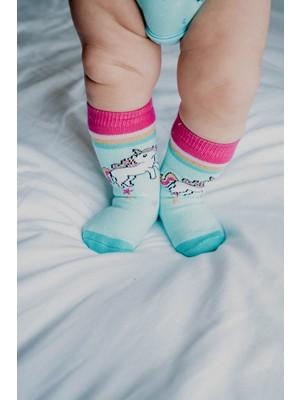 Katia&Bony 2'li Paket Unıcorn Bebek Çorabı - Pembe /mor