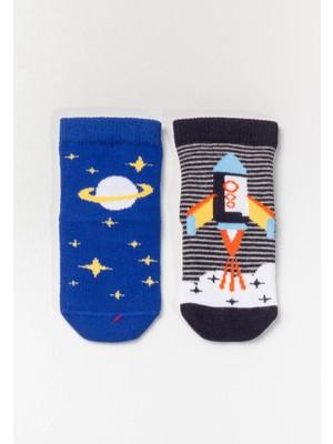 Katia&Bony 2'li Paket Roket Desenli Bebek Çorabı - Siyah / Lacivert