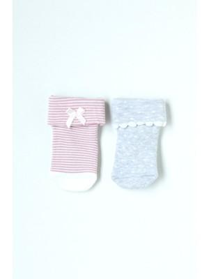 Katia&Bony 2'li Paket Puantiye Desenli Bebek Soket Çorap - Gri / Pembe