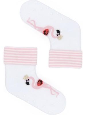 Katia&Bony Flamingo Desenli 2'li Bebek Soket Çorap - Beyaz/beyaz
