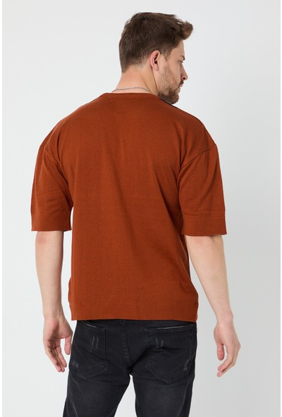 Tarz Cool Erkek Kiremit-Beyaz Modelli Oversize Triko T-Shirt-Ucczgr04S