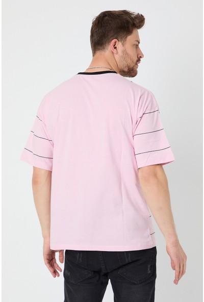Tarz Cool Erkek Pembe This Alone Çizgili Oversize T-Shirt-Thisabor05S
