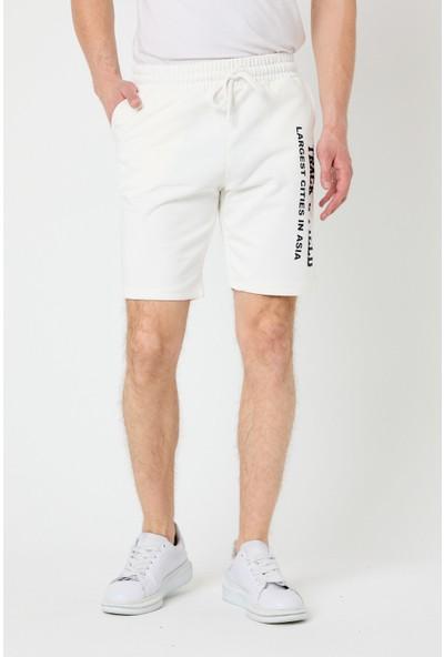 Tarz Cool Erkek Beyaz Regular Fit Detaylı Şort & Bermuda-Trickosrtr04S