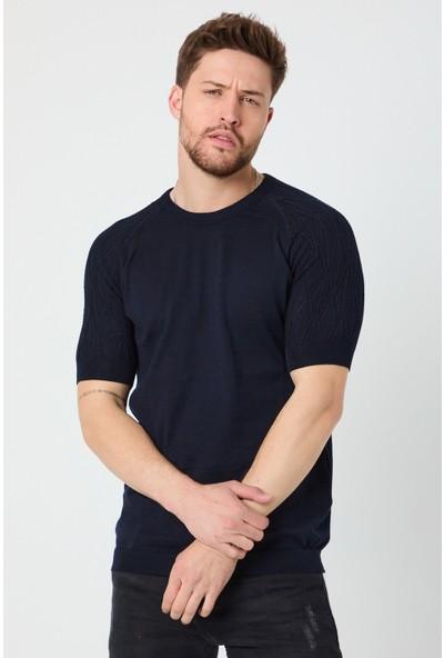 Tarz Cool Erkek Lacivert Omuz Detayli Kilim Dokuma Triko T-Shirt-Klmdktrr07S