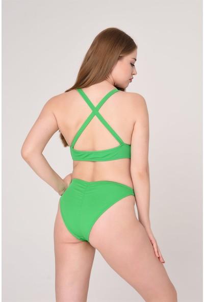 Aquaviva Kadın Yeşil Çapraz Askılı Brezilian Bikini Takımı