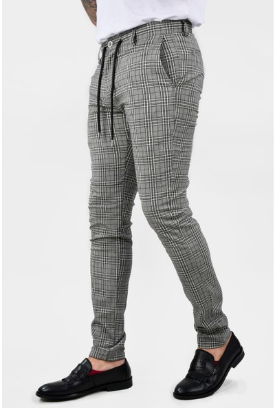 Deepsea Siyah Ekose Desenli Slimfit Dar Paça Pantolon 2102532