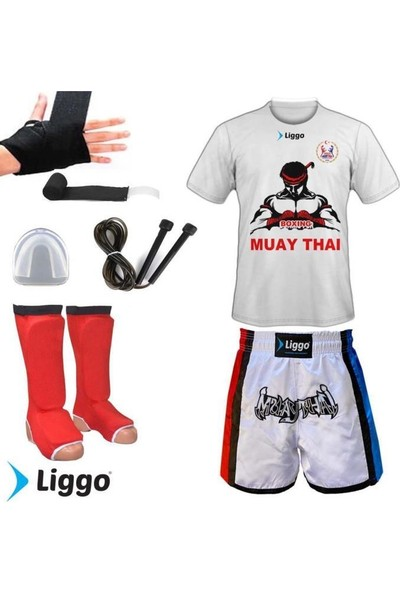 Liggo Kick Boks Muay Thai Şort Tişört Kaval Koruyucu Full Set