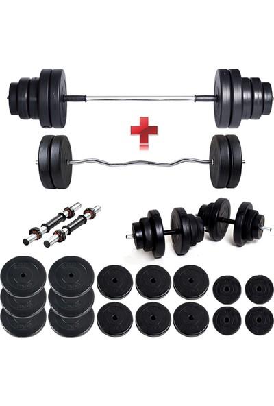 ECG Ecgspor 108 kg Z Bar Halter Seti ve Dambıl Seti Ağırlık Fitness Seti