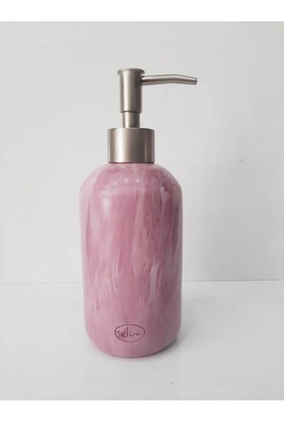 Selim Mermer Desen Polyester Banyo Sıvı Sabunluk Mor