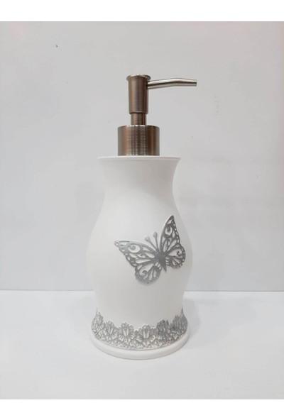 Selim Papıllon Polyester Banyo Sıvı Sabunluk Beyaz Gümüş