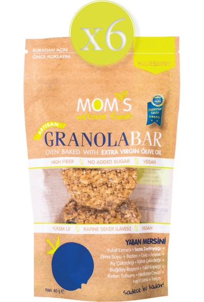 Mom's Natural Foods Mom's 6'lı Yaban Mersini Granola Bar (6 x 60 Gr)