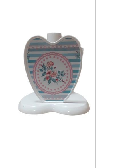 Göreme Beyaz Kağıt Havlu Tutucu Çiçek Desenli Kalp Model