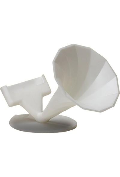 Pembe Karınca Özel Tasarım Gramofon Akustik Manuel Ses Bombası Beyaz