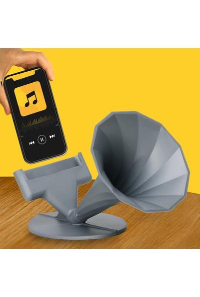 Pembe Karınca Özel Tasarım Gramofon Akustik Manuel Ses Bombası Gri