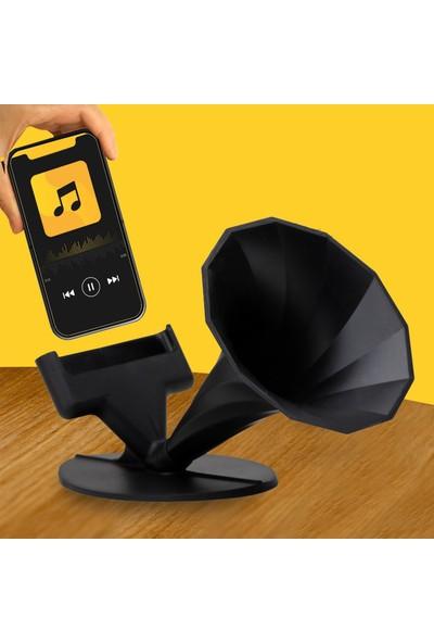 Pembe Karınca Özel Tasarım Gramofon Akustik Manuel Ses Bombası Siyah