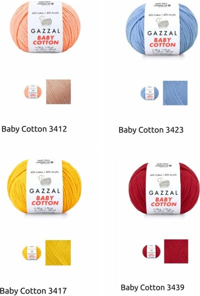 Gazzal Baby Cotton 50 Gr. 11 Renk Punch / Amigurumi / Örgü Ipi Seti