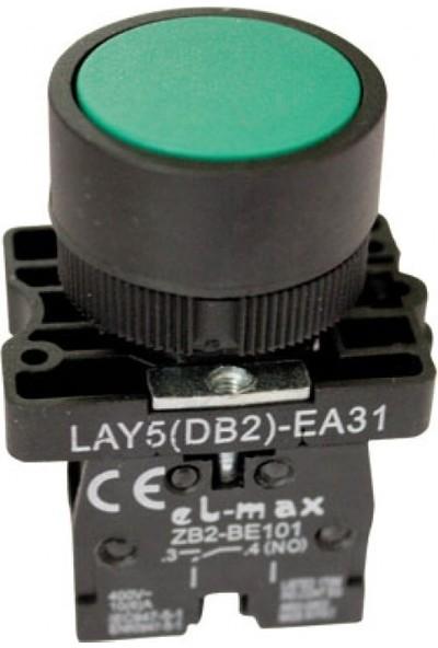 22MM Star Butonu No Kontaklı Yeşil Plastik Yaylı Buton 250V AC/3A (IP44) Lay5 EA31