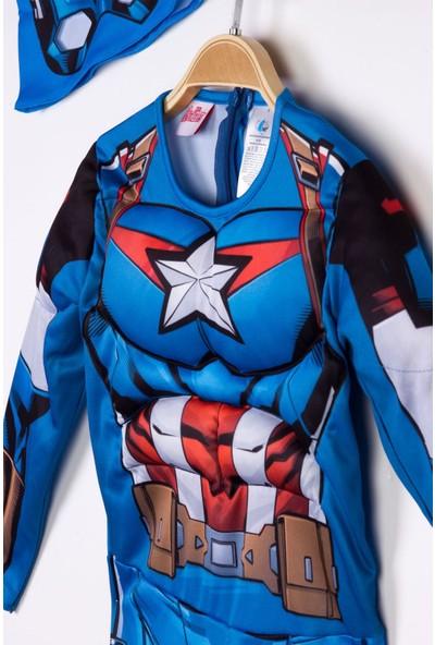 Trio Kaptan Amerika Çocuk Kostümü Kaslı 4-6 Yaş