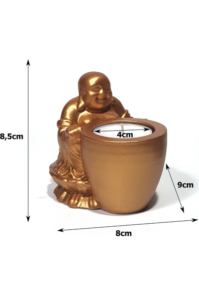 Masif Dekor Altın Rengi Buddha Heykeli Tealight Mumluk