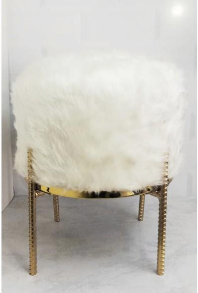 Zem Rita Beyaz Peluş Gold Metal Ayaklı Puf