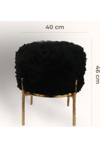 Zem Rita Siyah Peluş Gold Metal Ayaklı Puf
