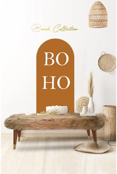 Zem Boho Bench Vizon Peluş - Masif Ahşap Ayaklı 120 cm