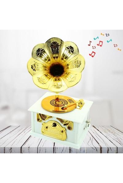 Süsle Bebek Parti Gramafon Müzik Kutusu, Beyaz