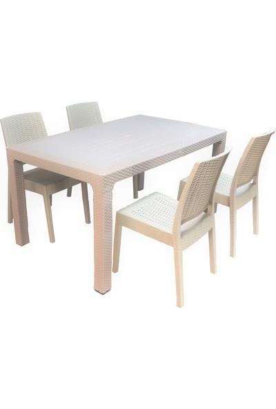 Romanoset Terra Rattan 90x150 cm Masa Takımı 4 Sandalyeli