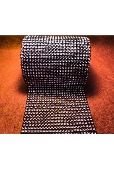 Platin Hediyelik 1 Metre Siyah Renk 24 Sıra Taşlı Şerit Süsleme Şeridi