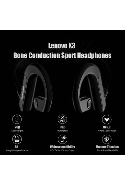 Lenovo X3 Titanyum Kemik İletimli Anc Bluetooth 5.0 Kablosuz Kulaklık (Yurt Dışından)