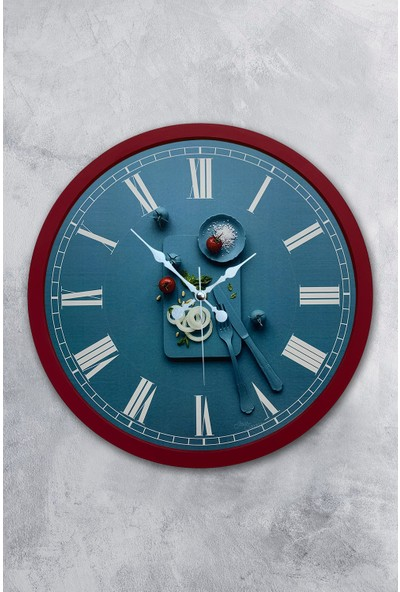 Platin Saat 36 cm Bordo Ahşap Mutfak Duvar Saati