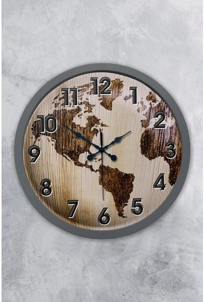 Platin Saat 36 cm Antrasit Ahşap Harita Duvar Saati
