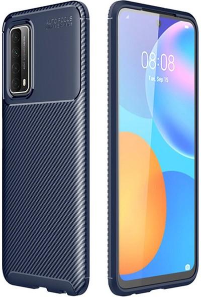 Moserini Huawei P Smart 2021 Focus Fiber Karbon Lacivert Telefon Kılıfı - Arka Kapak Lacivert