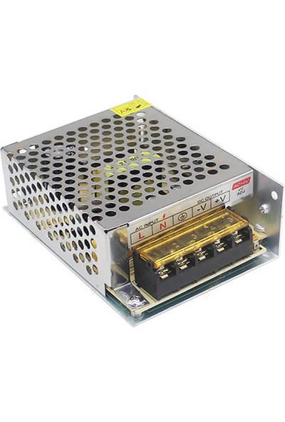 Wozlo Adaptör 12V 5A Metal Kasa 12 Volt 5 Amper Şerit LED Güvenlik Kamerası Adaptörü