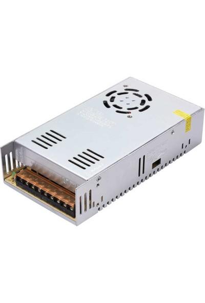 Wozlo Adaptör 12V 30A Metal Kasa 12 Volt 30 Amper Şerit LED Güvenlik Kamerası Adaptörü