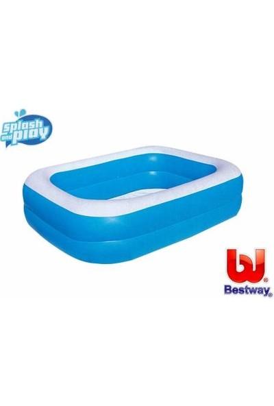 Bestway Pompa Hediye - Bestway 12819, Büyük Boy Dikdörtgen Şişme Aile Havuzu (211X132X46CM)