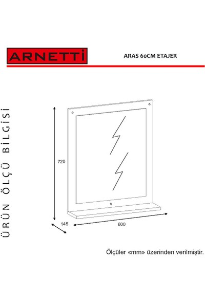 Arnetti Aras Etajer 72 x 60 cm Beyaz