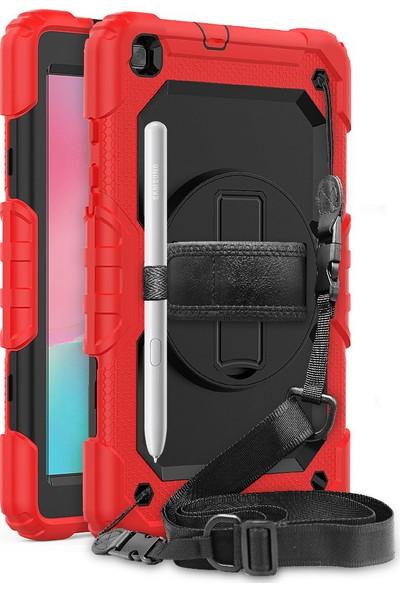 """BizimGross Samsung Galaxy Tab S6 Lite 10.4"""" P610 Kılıf 360 Tam Koruma Zırh Standlı Askı Ipli Kılıf"""