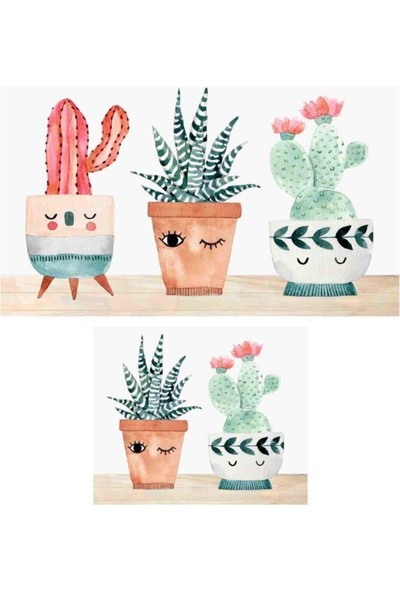 Hayveys Dijital Three Cactus 2'li Banyo Paspas Seti Klozet Takımı