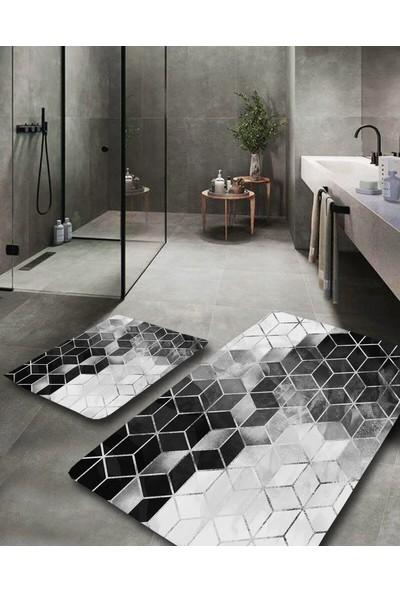 Hayveys Silver Modern Yıkanabilir 2li Banyo Halısı Paspas Klozet Takımı