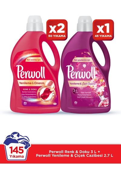Perwoll Hassas Bakım Sıvı Çamaşır Deterjanı 3 x 3L (145 Yıkama) 2 Renkli + 1 Çiçek Cazibesi Yenileme&Onarım