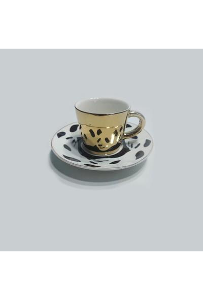 Arow Yansımalı Gold Fincan Takımı 12 Parça Panda Desenli TR-1900