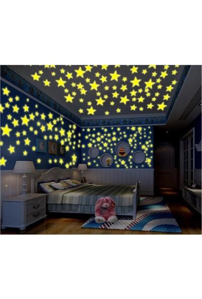 Istoc Toptan Fosforlu Yıldız Ay Gece Parlayan Oda Duvar Tavan Süsü 24 Parça